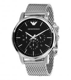 Emporio Armani Silver Black Dial Chronograph Watch