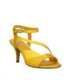 Salvatore Ferragamo Yellow Satin Heels