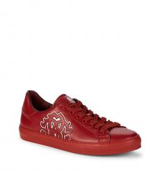 Roberto Cavalli Red Logo Patch Sneakers