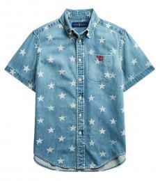 Ralph Lauren Boys Star Print Cotton Denim Shirt