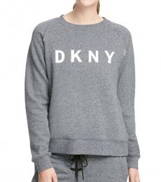 DKNY Charcoal Lace-Up Logo Sweatshirt