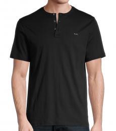 Michael Kors Black Henley Logo T-Shirt