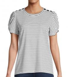 White Stripe Puff-Sleeve Top