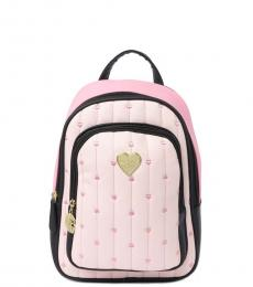 Betsey Johnson Light Pink Quilted Small Backpack
