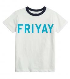 J.Crew Boys White Navy Graphic T-Shirt