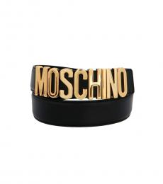 Moschino Black Golden Buckle Belt
