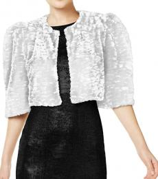 Calvin Klein White Faux Fur Puff Sleeve Shrug