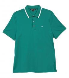 Michael Kors Amazon Green Textured Tipped Polo