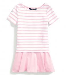 Ralph Lauren Little Girls White-Carmel Pink Striped Dress