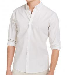Michael Kors Off White Slim-Fit Mini-Dot Shirt