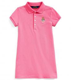Ralph Lauren Little Girls Baja Pink Madras Bear Dress