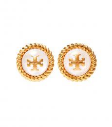 Tory Burch Rolled Brass-Mother Of Pearl Kira Glass Stud Earrings
