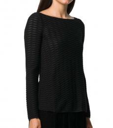 Emporio Armani Black Textured Long-Sleeve Top