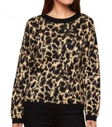 Juicy Couture Leopard Print Metallic Pullover Sweater