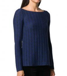 Emporio Armani Navy Blue Twist-Stripe Knit Top