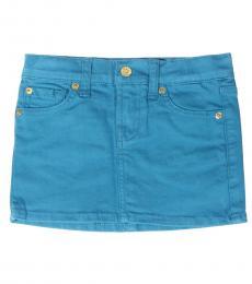 Little Girls Blue Mini Skirt