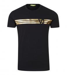 Versace Jeans Black Gold Lined Logo T-Shirt
