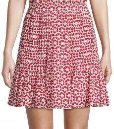 Red Printed Pleated Skirt