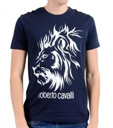 Roberto Cavalli Dark Blue Lion Logo T-Shirt