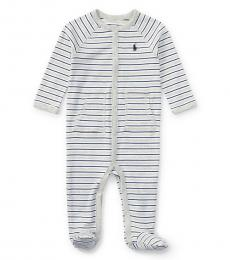 Baby Boys Grey Striped Coverall