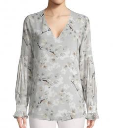 Light Grey Floral V-Neck  Top