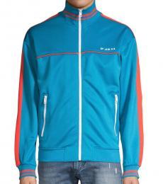 Blue Sleeve-Tape Zip-Front Jacket
