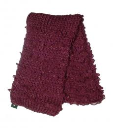 Brownish Red Metallic Ruffles Knit Scarf