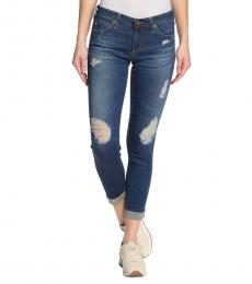 AG Adriano Goldschmied Denim Roll Cuff Ripped Jeans