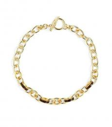 Gold Leather Inlay Chain Necklace
