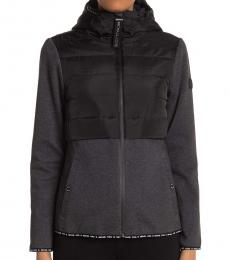 Michael Kors Black Hooded Quilted Zipper Jacket