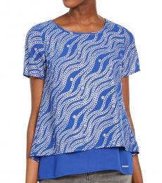 Blue Chain-Print Layered Top