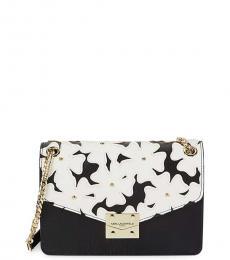 Black White Floral Medium Shoulder Bag
