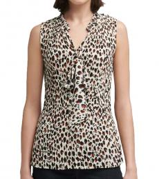 DKNY Brown Pleated Leopard Top