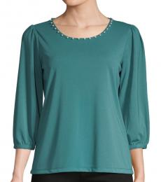 Karl Lagerfeld Spruce Faux Pearl-Trimmed Top