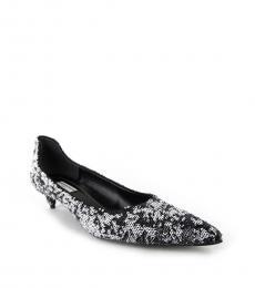 Black White Sequins Heels