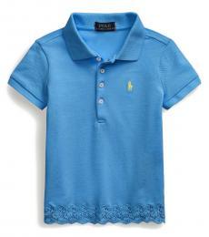 Ralph Lauren Little Girls Blue Lace-Hem Polo
