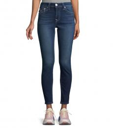 Dark Blue Flap-Pocket Skinny Jeans