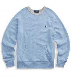 Ralph Lauren Boys Cobalt Heather Twill Terry Sweatshirt