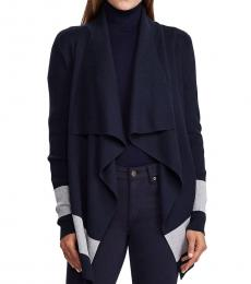 Lauren Navy Relaxed-Fit Colorblock Cardigan