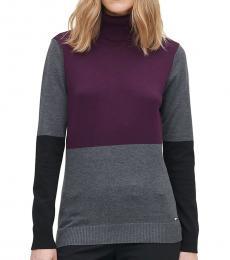 Calvin Klein Multi color Colorblock Turtleneck Sweater