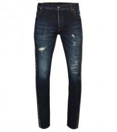 Dark Blue Logo Taping Jeans