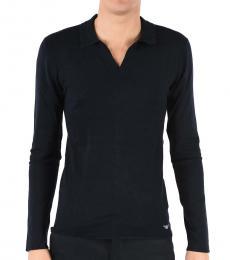 Emporio Armani Dark Blue Silk Long Sleeves Polo
