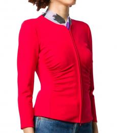Emporio Armani Bright Red Ruched Stretch Fit Jacket