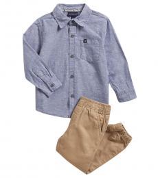 Calvin Klein 2 Piece Shirt/Joggers Set (Little Boys)