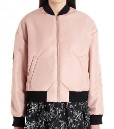 Pink Logo Print Bomber Jacket