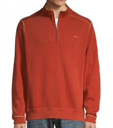 Rust Half-Zip Cotton Sweatshirt