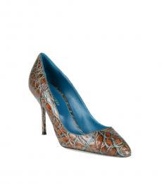 Sergio Rossi Brown Blue Croc Print Heels