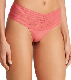 DKNY Pink Wide Lace Trim Thong