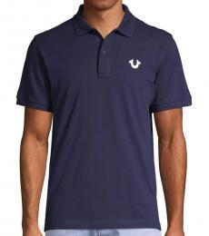 Navy Blue Cotton Logo Polo