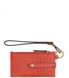 Calvin Klein Burnt Orange Bubble Zip Card Case Wristlet